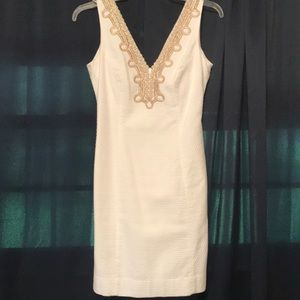 Lilly Pulitzer white and gold dress. Size 0.